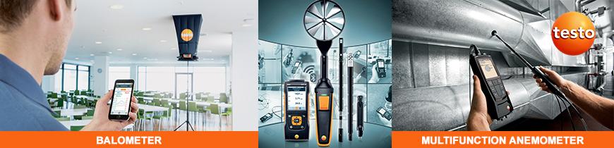 Balometer anemometer anemomètre testo balomètre air flow captur hood test filtration ventilation